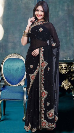 Fantastic Black Stone Work Faux Georgette Exclusive Saree ZP0904
