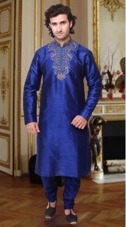 Fantastic Blue Art Silk Neck Embroidered Kurta Pyjama DTKP133
