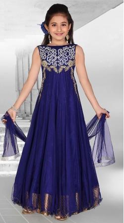 Fantastic Blue Net Designer Readymade Princess Kids Gown DT51642