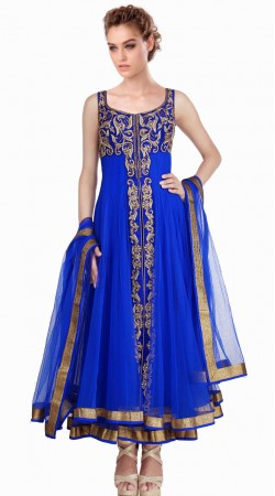 Fantastic Blue Net Readymade Ready Made Salwar Kameez SU16210