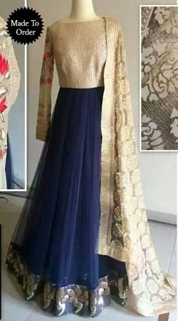 Fantastic Blue Net Replica Floor Length Anarkali Suit With Dupatta SMDS00Q