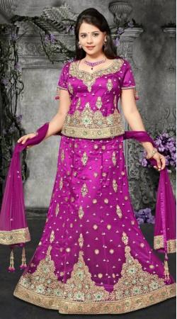 Fantastic Embroidered Purple Net Wedding Lehenga Choli DT91239