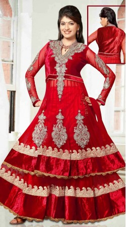 Fantastic Embroidered Red Net Long Choli Lehenga With Dupatta DT90939