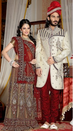 Fantastic Embroidered White Brocade Indowestern Sherwani 3FD3871332