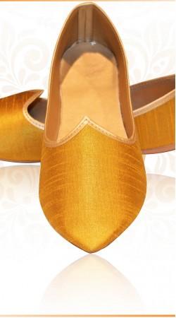 Fantastic Golden Raw Silk Wedding Mens  Mojari For Designer Sherwani ZP0607
