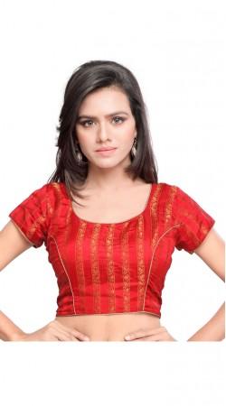 Fantastic Golden Work Red Art Silk Jacquard Designer Blouse BPMS1312