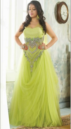 Fantastic Lime Green Net Heart Shape Embroidered Readymade Indowestern Gown