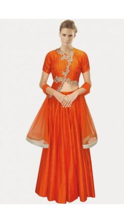 Fantastic Orange Silk And Net Wedding Lehenga Choli SUUDL4514