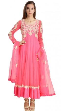 Fantastic Pink Resham Work Net Exclusive Salwar Kameez SU20511