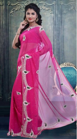 Fantastic Pink Stone Work Faux Georgette Exclusive Saree ZP2804
