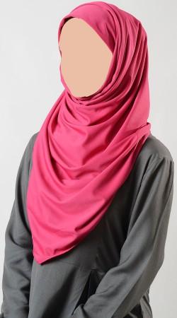 Fantastic Plain Pink Poly Knit Hijab BP0449
