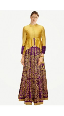 Fantastic Purple And Golden Silk Wedding Lehenga Choli SUUDL4414