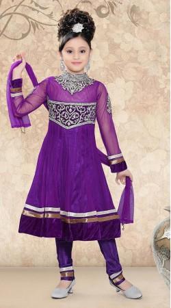 Fantastic Purple Net Readymade Kids Long Anarkali Suit DT50242