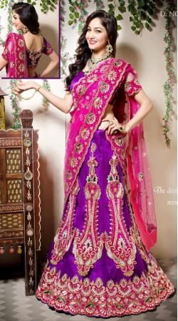 Fantastic Purple silk Wedding Lehenga Choli With Pink Dupatta LD002805