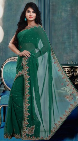 Fantastic Rama Green Faux Georgette Exclusive Saree With Blouse ZP1904