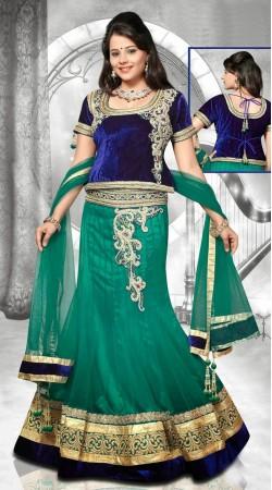Fantastic Rama Green Net Wedding Lehenga Choli With Dupatta DT92839