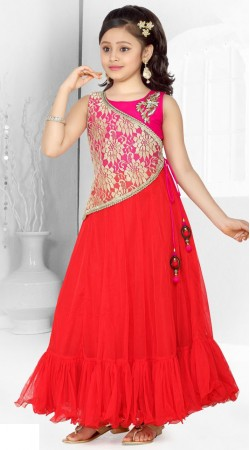 Fantastic Red Georgette Designer Readymade Kids Gown DT301841