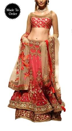 Fantastic Red Net Designer Double Layered Replica Lehenga Choli BP1403