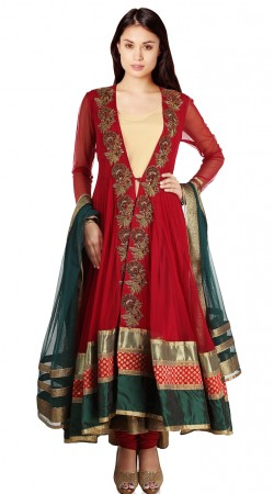 Fantastic Red Net Embroidered Suit With Contrast Dupatta SU22511