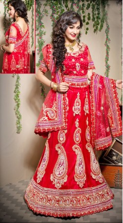 Fantastic Red Net Semi Bridal Lehenga Choli With Dupatta LD00805