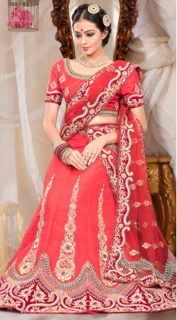 Fantastic Red Raw Silk Semi Bridal Lehenga Choli With Dupatta ZP0505
