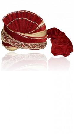 Fantastic Red Velvet Designer Groom Wedding Pagri ZP0806