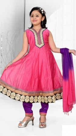 Fantastic Ruby Premium Fabric Readymade Kids Anarkali Suit DT700937