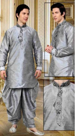 Fantastic Silver Art Dupion Silk Neck Embroidered Dhoti Kurta