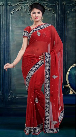 Fantastic Stone Work Red Faux Georgette Diwali Saree With Blouse ZP4304