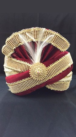 Fantastic Stone Work Velvet Red Wedding Turban For Groom DTT835