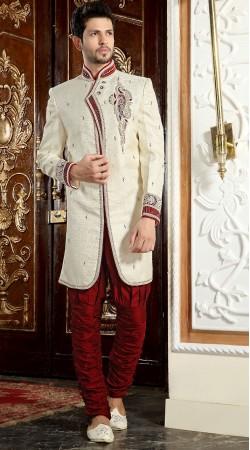 Fantastic White Brocade Designer Readymade Sherwani 2FD3685499