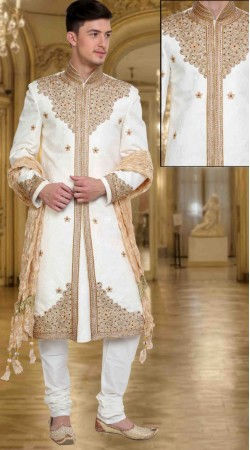 Fantastic White Brocade Stone Work Wedding Sherwani DTWSH1035