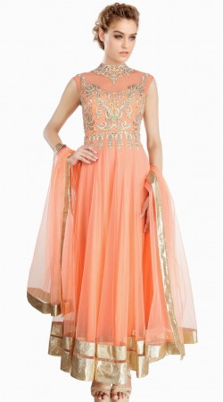 Fantastic Yoke Embroidered Peach Net Embroidered Suit With Dupatta SU23911