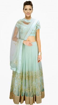 Fashionable Aqua Net Sequins Work Designer Short Choli Lehenga With Dupatta SUUDL513