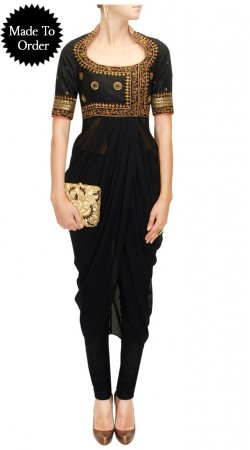 Fashionable Black Georgette Replica Dhoti Style Kameez SMDS0FF