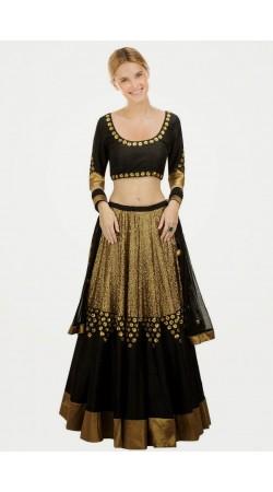 Fashionable Black Net And Georgette Wedding Lehenga Choli SUUDL8214