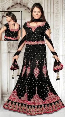 Fashionable Black Net Embroidered Lehenga Choli With Dupatta DT91939