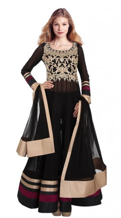 Fashionable Black Net Yoke Embroidered Floor Length Anarkali Suit SUUDS29304