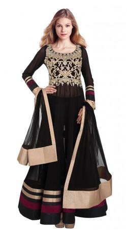 Fashionable Black Net Yoke Embroidered Floor Length Anarkali Suit SUUDS29304