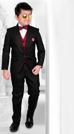 Fashionable Black Premium Fabric Kids Boy Tuxedo Coat Pant DT225653