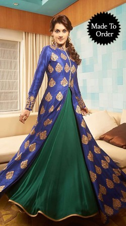 Fashionable Blue And Teal Premium Fabric Replica Designer Floor Length Gown BP0403