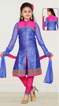 Fashionable Blue Banarasi Readymade Kids Churidar Kameez DT701437