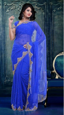 Fashionable Blue Faux Georgette Beautiful Saree With Blouse ZP1304