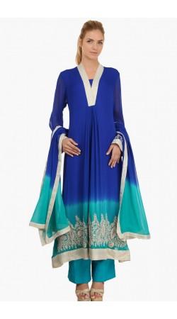 Fashionable Blue Georgette Ready Made Salwar Kameez SUMS1612