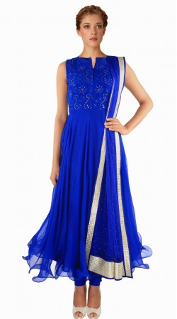 Fashionable Blue Net Exclusive Salwar Kameez With Dupatta SUMA709