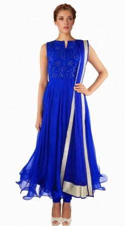 Fashionable Blue Net Exclusive Salwar Kameez With Dupatta SUMA709