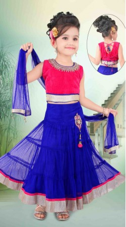 Fashionable Blue Net Readymade Kids Lehenga Choli With Dupatta DT702337