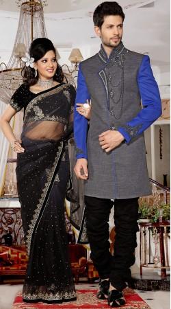 Fashionable Blue Sleeves Grey Brocade Indowestern Designer Suit 3FD3872032