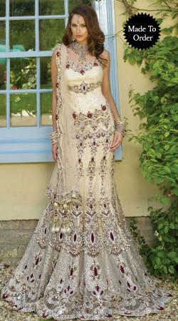 Fashionable Cream Net Heavy Work Bridal Lehenga Choli With Dupatta BP2508