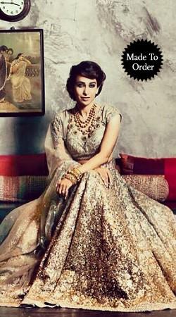 Fashionable Cream Premium Fabric Replica Designer Bridal Lehenga Choli BP1503